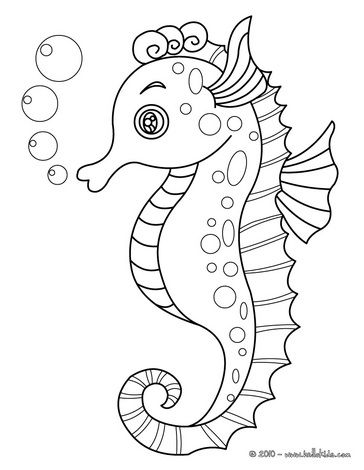 coloring pages: Seahorse // Página para colorear caballito de mar ...