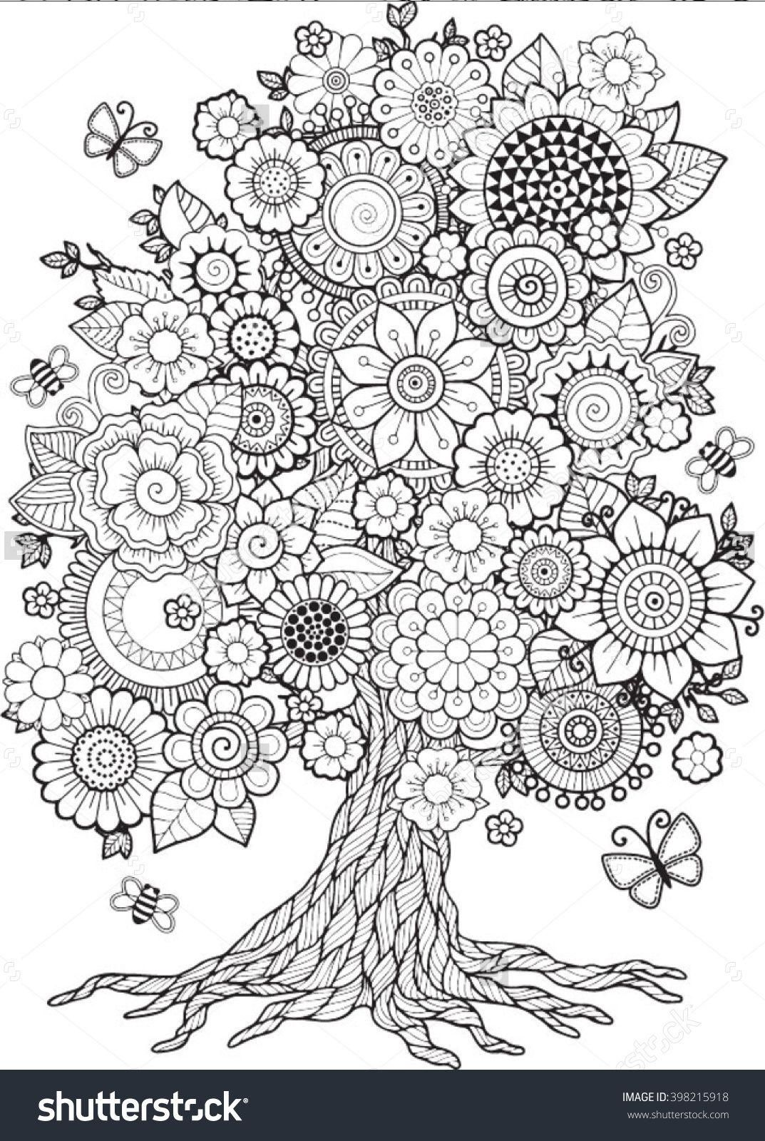 - Blossom Tree. Vector Elements. Coloring Book For Adult. Doodles