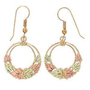Diamond Cut Yellow Gold Black Hills 6 Leaf Dangle Earrings