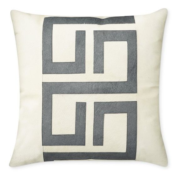 Althena Pieced Hide Pillow Cover Grey Williams Sonoma
