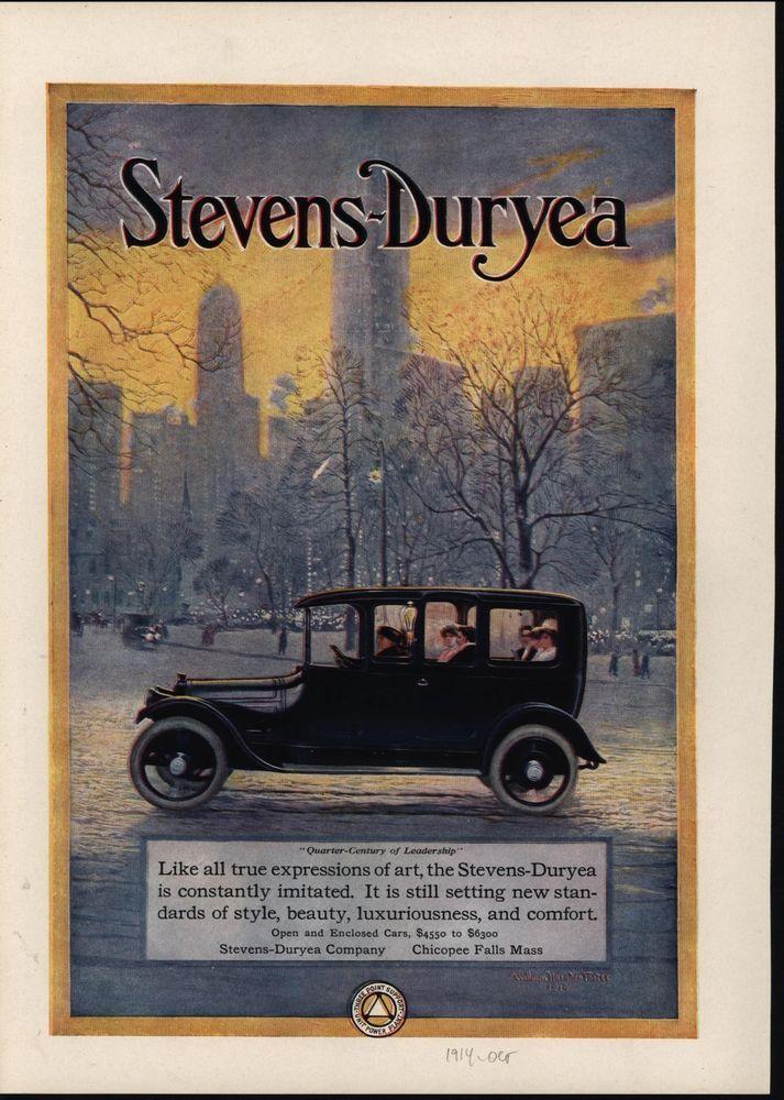Stevens Duryea Luxury Automobile Engineering Marvel 1914 antique ...