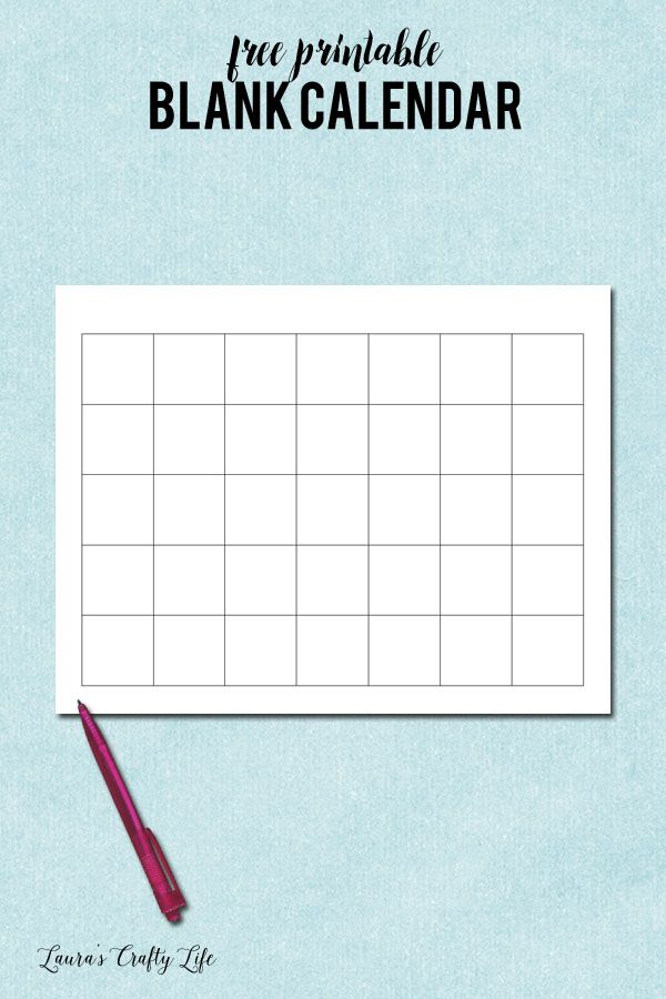 Blank Calendar Template- When Printing, Choose Landscape And Fit