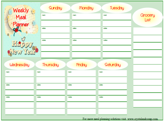 Menu Plan Monday  Jan   Free Printable Meal Planner Free
