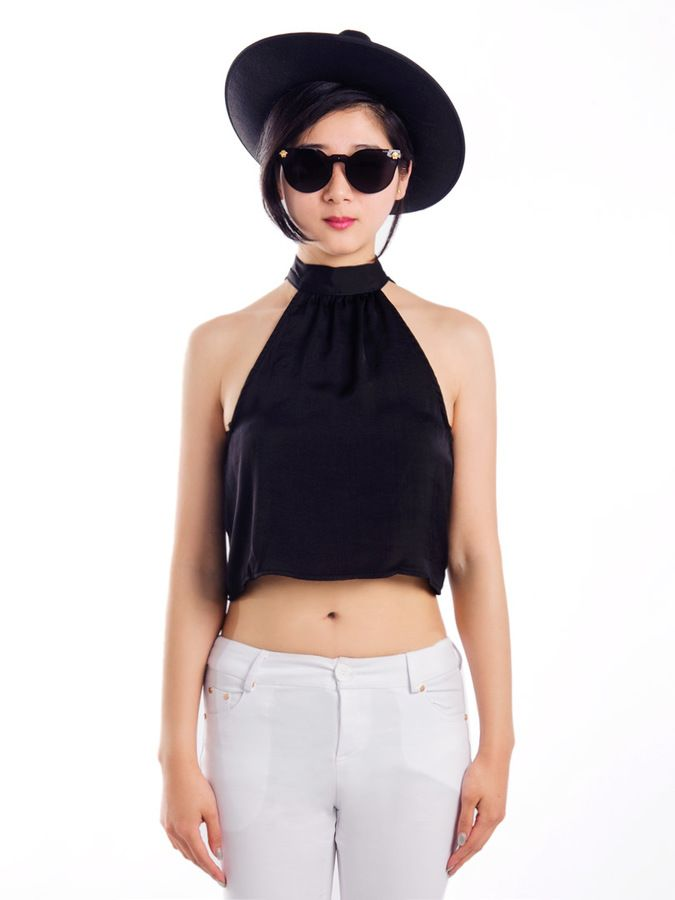 Choies Black Crop Top With High Neck on shopstyle.com