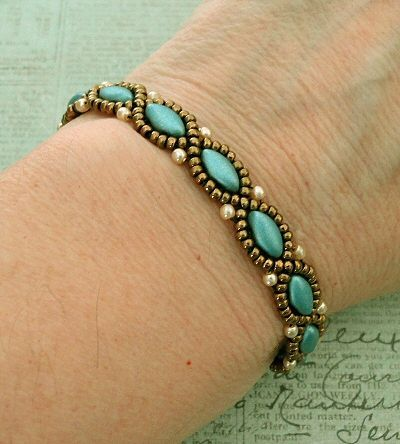 Linda's Crafty Inspirations: Bracelet of the Day: Simple IrisDuo Chain - Aqua & Bronze #fashiontag