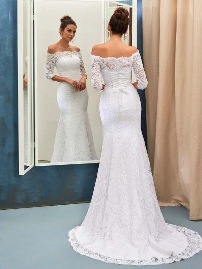 d701d132324 Off-The-Shoulder 3 4 Sleeves Mermaid Lace Wedding Dress   petite Wedding  Dresses