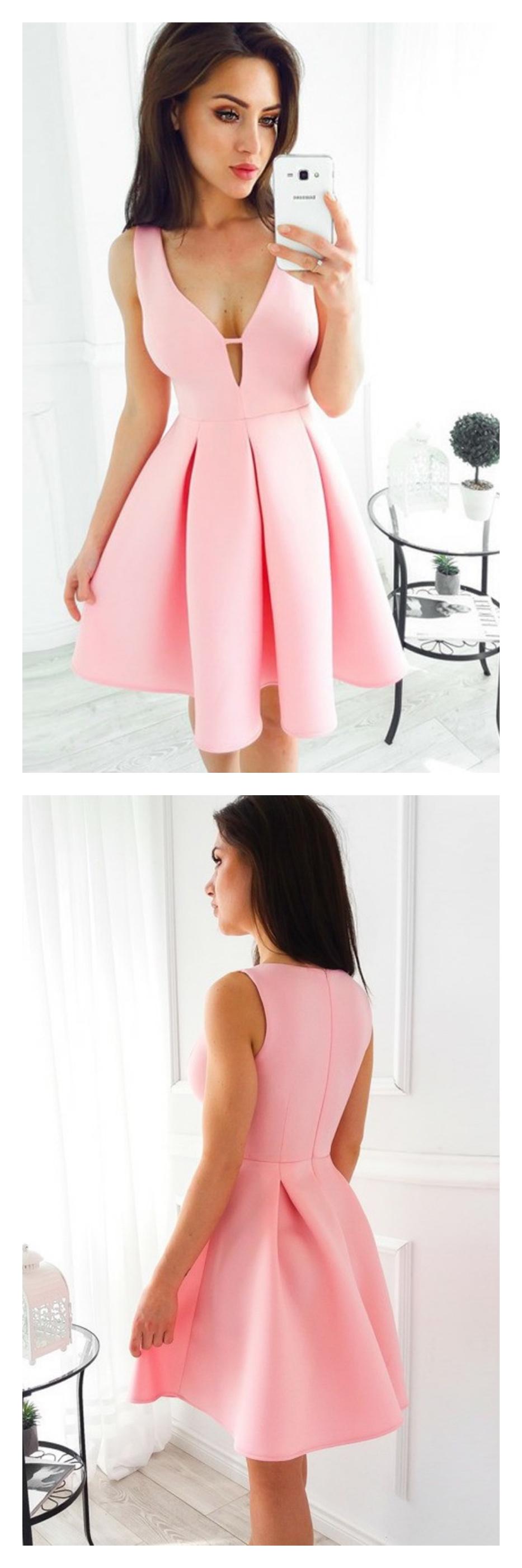 Pink vneck short homecoming dress party dressesed dresses