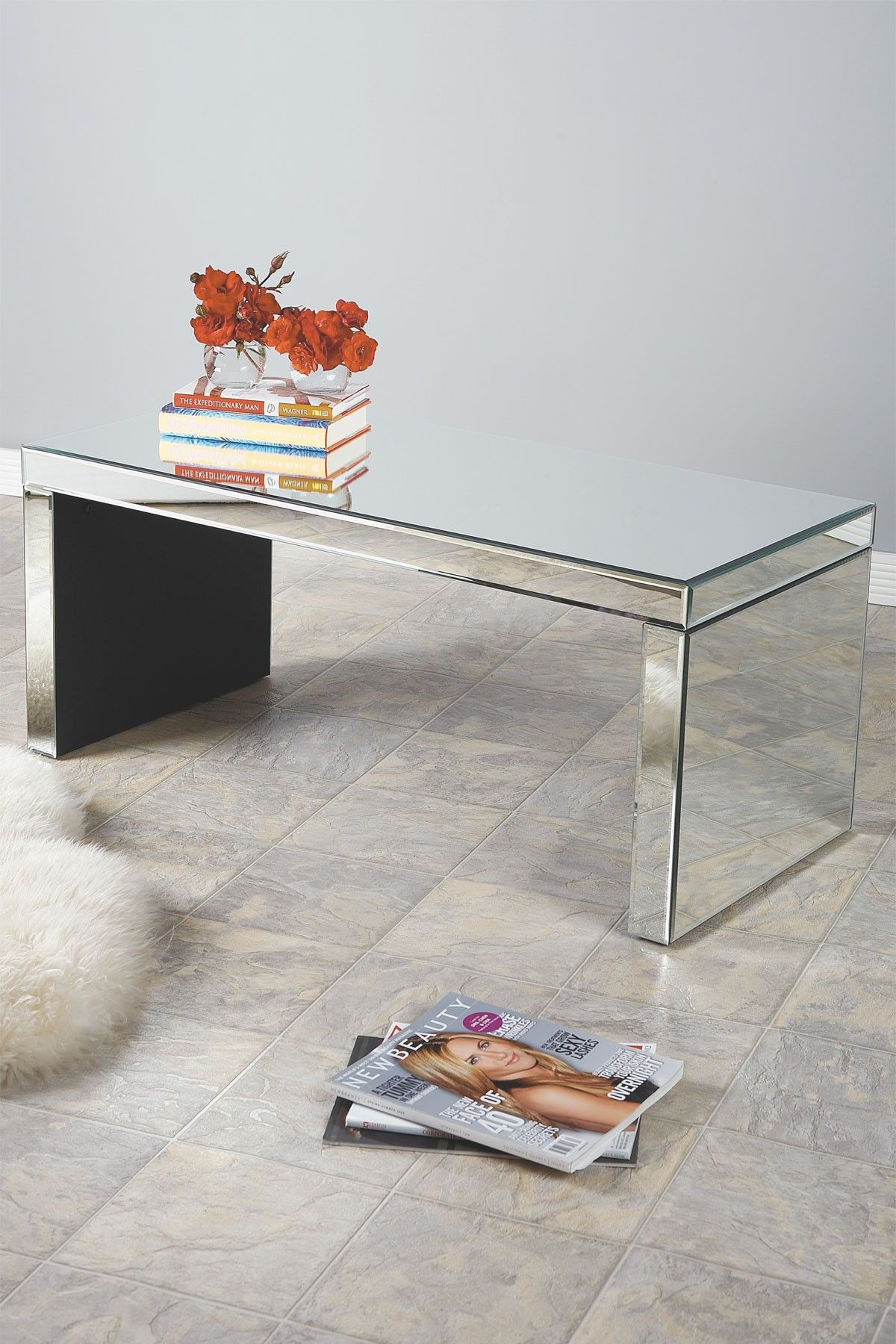 Brid Mirrored Silver Coffee Table by Statements by J on