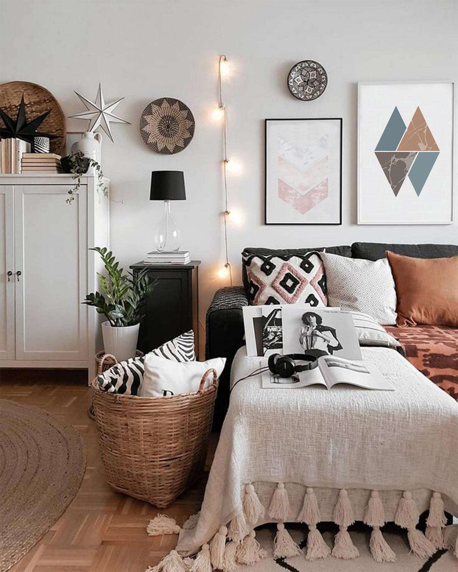 Turquoise Triangles Wall Art Print, Minimalism, Geometric print, Printable art, Digital print, Minimalist , Triangle, Bedroom Art, Poster Genç odası