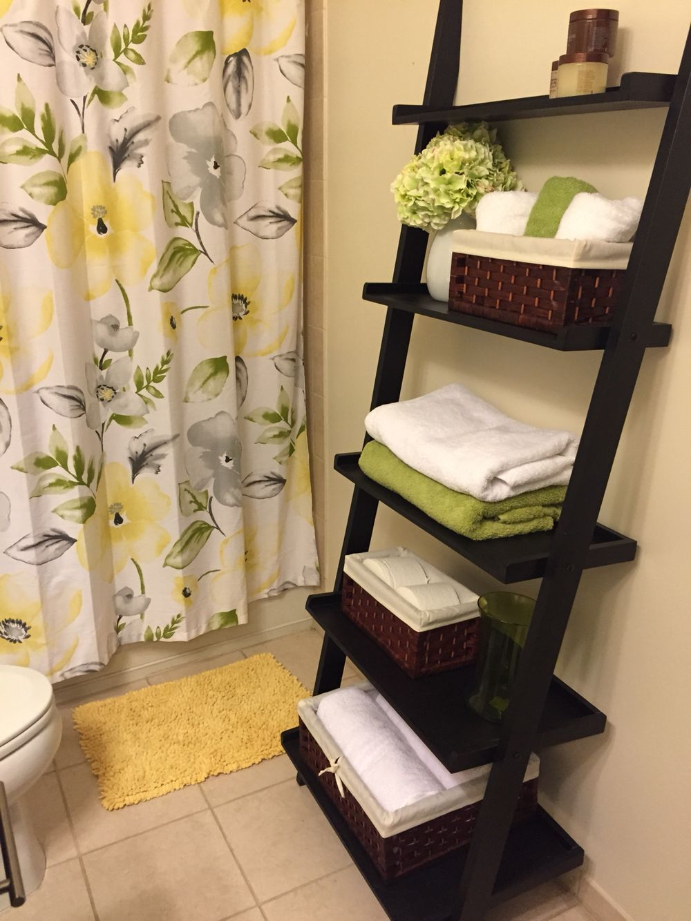I got this leaning ladder shelf for my bathroom and itus been