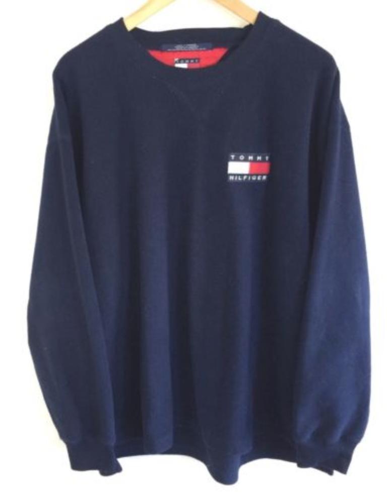 55c28727abce FOR SALE  Vintage 90s TOMMY HILFIGER Navy Fleece Sweatshirt Spell Out Logo  Jumper