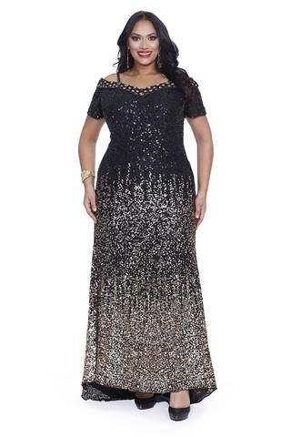 3afccad030e76 Kurves By Kimi Black Gold Sequins Off the Shoulder Plus Size Evening Gown  71181 Front View