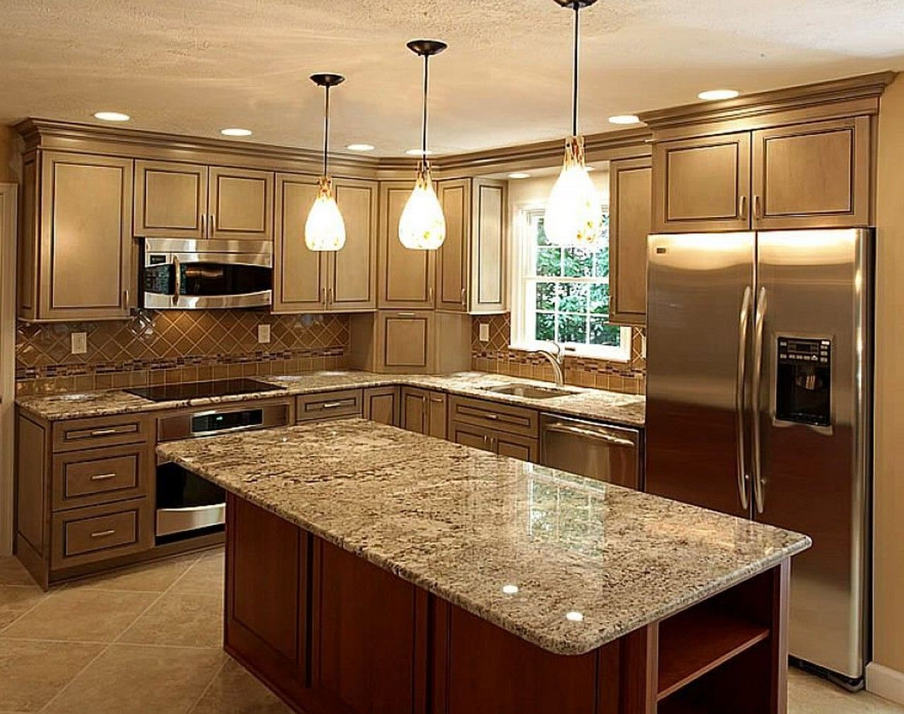 Interior, Cool Lighting Kitchen Log Home Interior Decoration Plans With  Dark Cabinet And Stand With Exotic Marble Countertop And Antique Pendant  Lights: Log ...