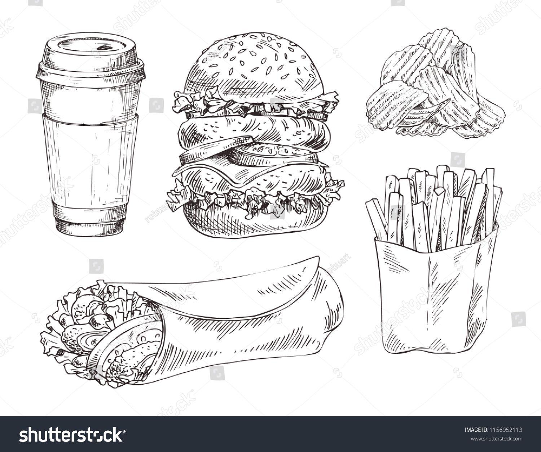Fast food set hand drawn vector monochrome illustration