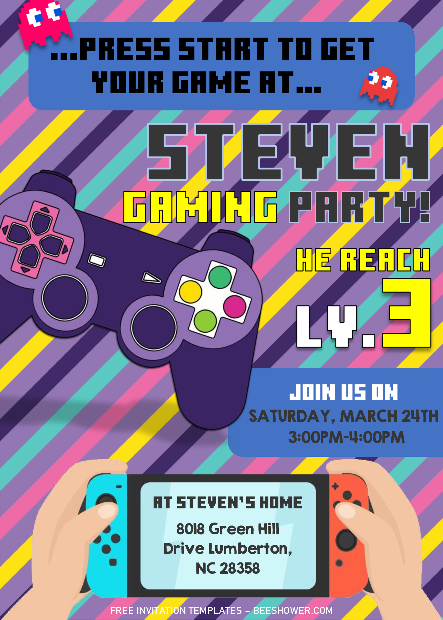 Video Game Invitation Templates Editable With Microsoft Word Free Printable Baby Shower Invitations Invitation Template Printable Baby Shower Invitations