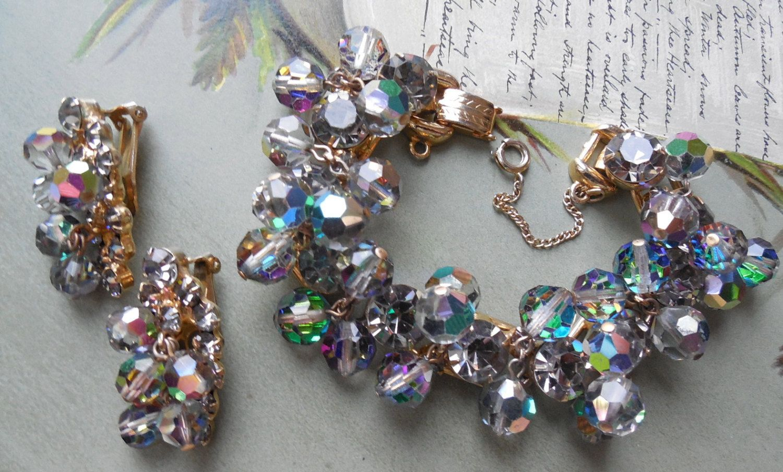 D/&E aka Juliana Crystal Rhinestone Brooch and Earrings Dangle Beads AB Aurora Borealis