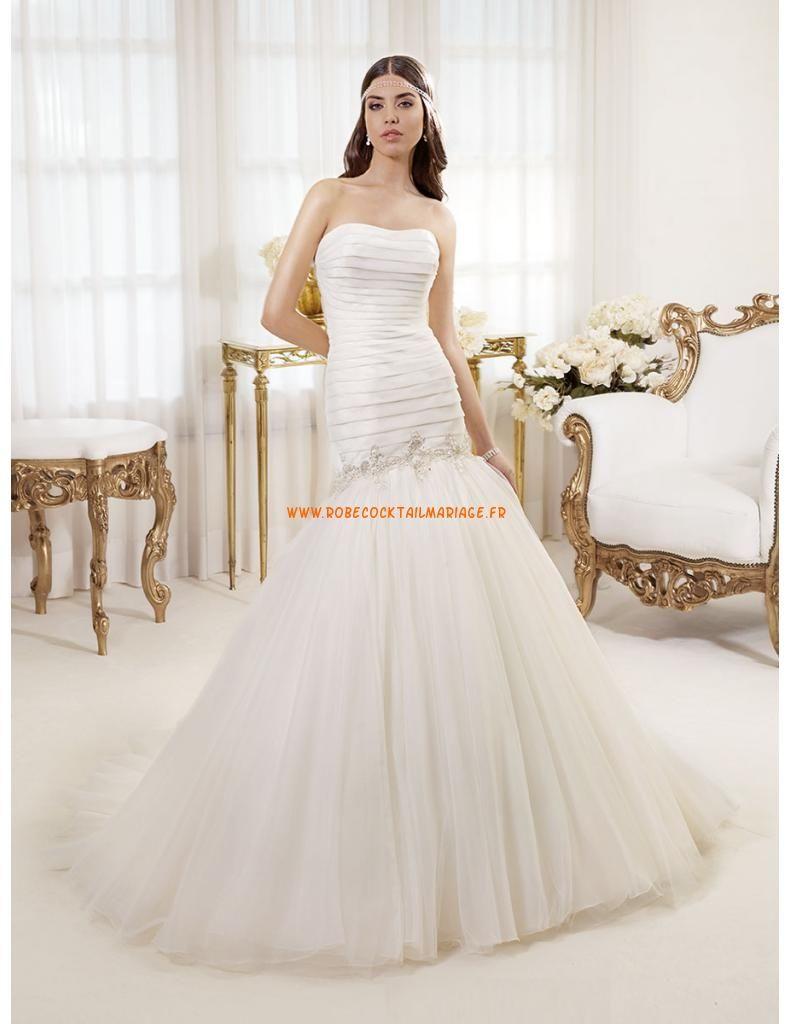 Robe de mariée sirène satin drapé traine tulle