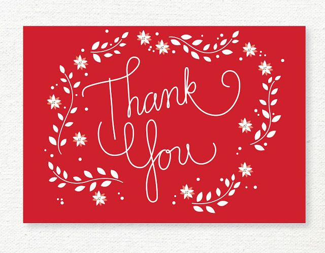Free Printable Christmas Thank You Card  Lemon Squeezy  Embroidery