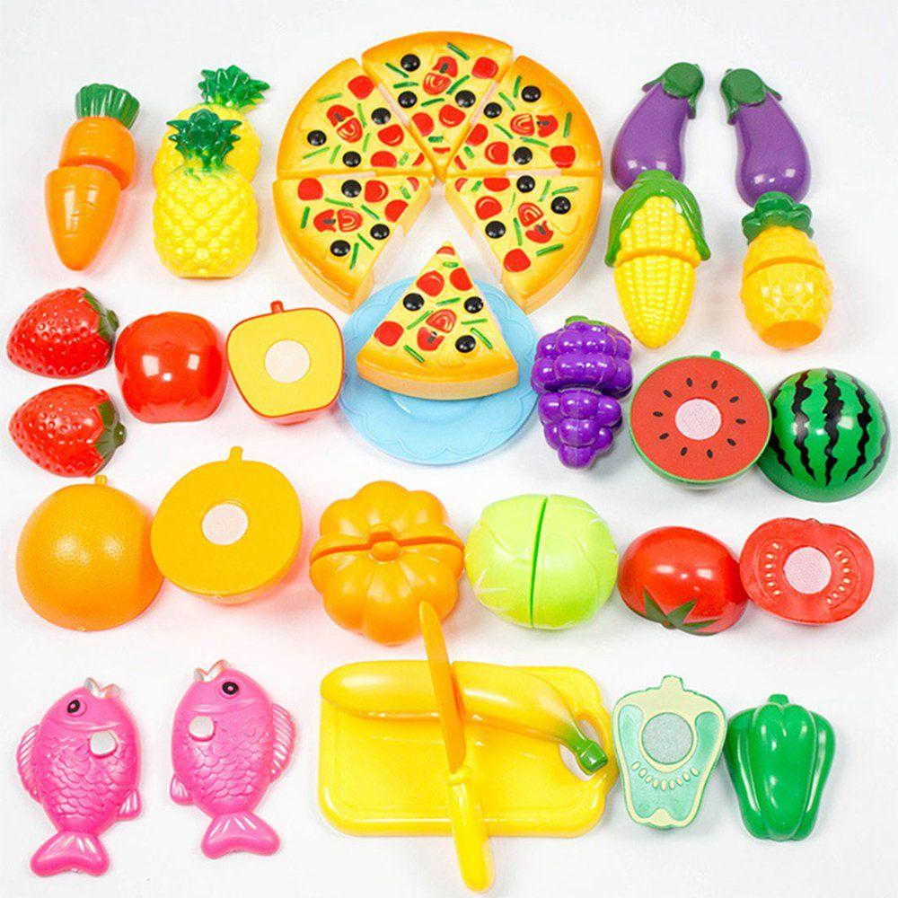 24 개/대 플라스틱 과일 야채 부엌 절단 장난감 조기 개발 교육 장난감 아기 아이 어린이