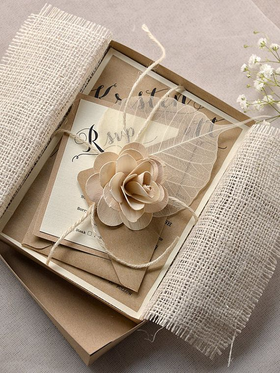 Eco Chic Recycling Burlap Box Wedding Invitations