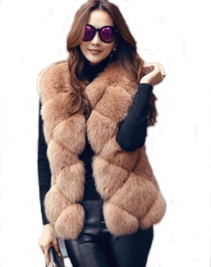 2bed3da8a6fb7 Nouveau 2016 Manteau D hiver Femmes Toute imitation Peel Renard Gilet De  Fourrure De Haute