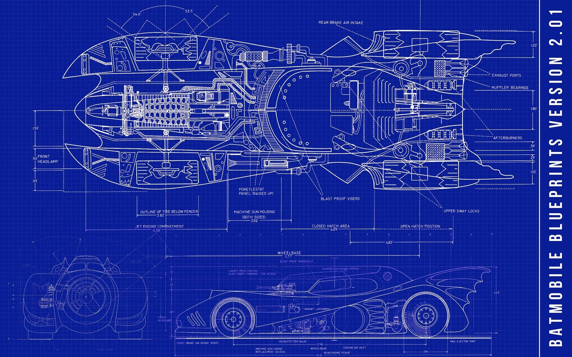 Batman blue dc comics blueprints batmobile 3d wallpaper for Free 3d blueprints