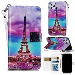 Rainbow Eiffel Tower 3D Shiny Dazzle Smooth PU Leather Wallet Case for iPhone 11 (6.1 inch) #iphone11