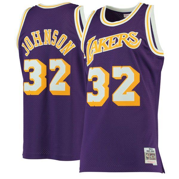 48e9bdf104e Men's Los Angeles Lakers Magic Johnson Mitchell & Ness Purple 1984-85  Hardwood Classics Swingman Jersey