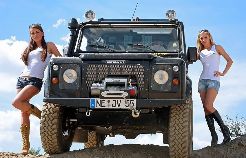 Ladies Posing with Land Rover Defender ★ App for Land Rover Warning Lights now in App Store. App info website: Carwarninglight.com