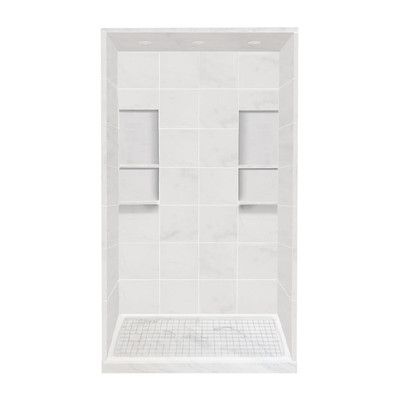 Transolid Alcove 11 Peice Shower Wall Kit with Shower Base and ...