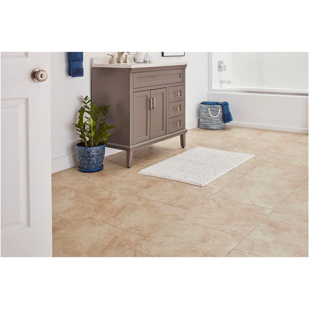 Trafficmaster Portland Stone Beige 18 In X 18 In Glazed Ceramic Floor And Wall Tile 2 18 Sq Ft Piece Pt011818hd1pv The Home Depot In 2020 Ceramic Floor Floor And Wall Tile Wall Tiles