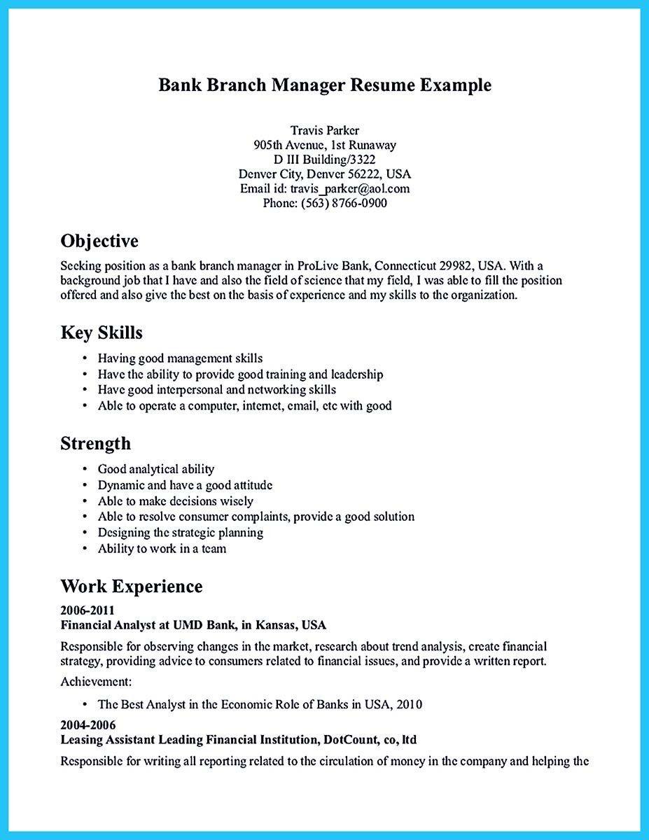 Bank Branch Manager Resume Best Of Resume format for Bank