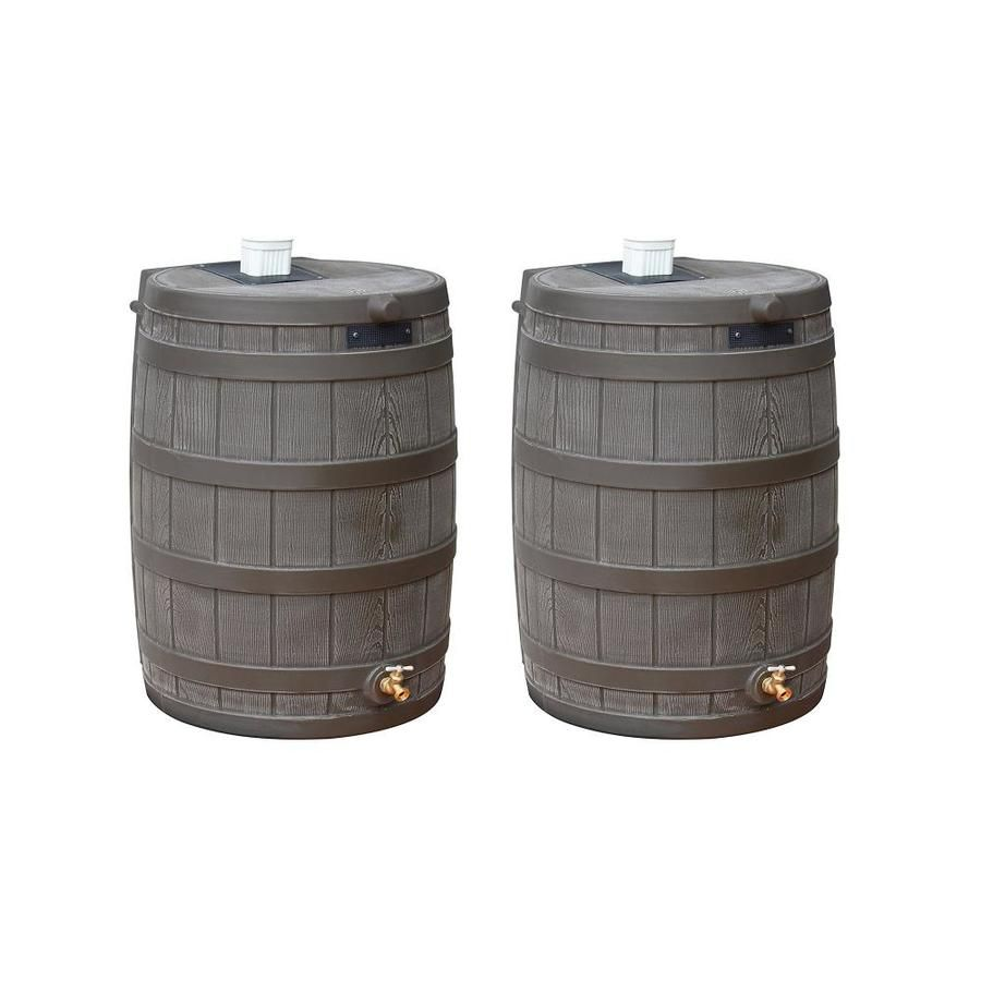 Good Ideas 50 Gallon Oak Plastic Rain Barrel Spigot 125237 In 2020 Rain Barrel Water Collection
