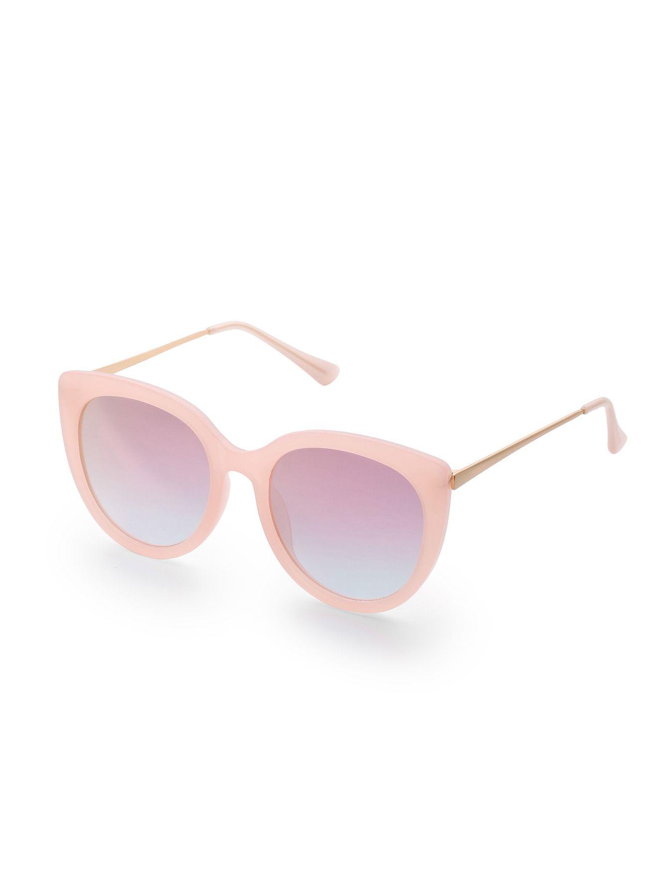 Gafas de sol estilo ojo de gato con lentes rosas-(Sheinside)  aa9dff95589d