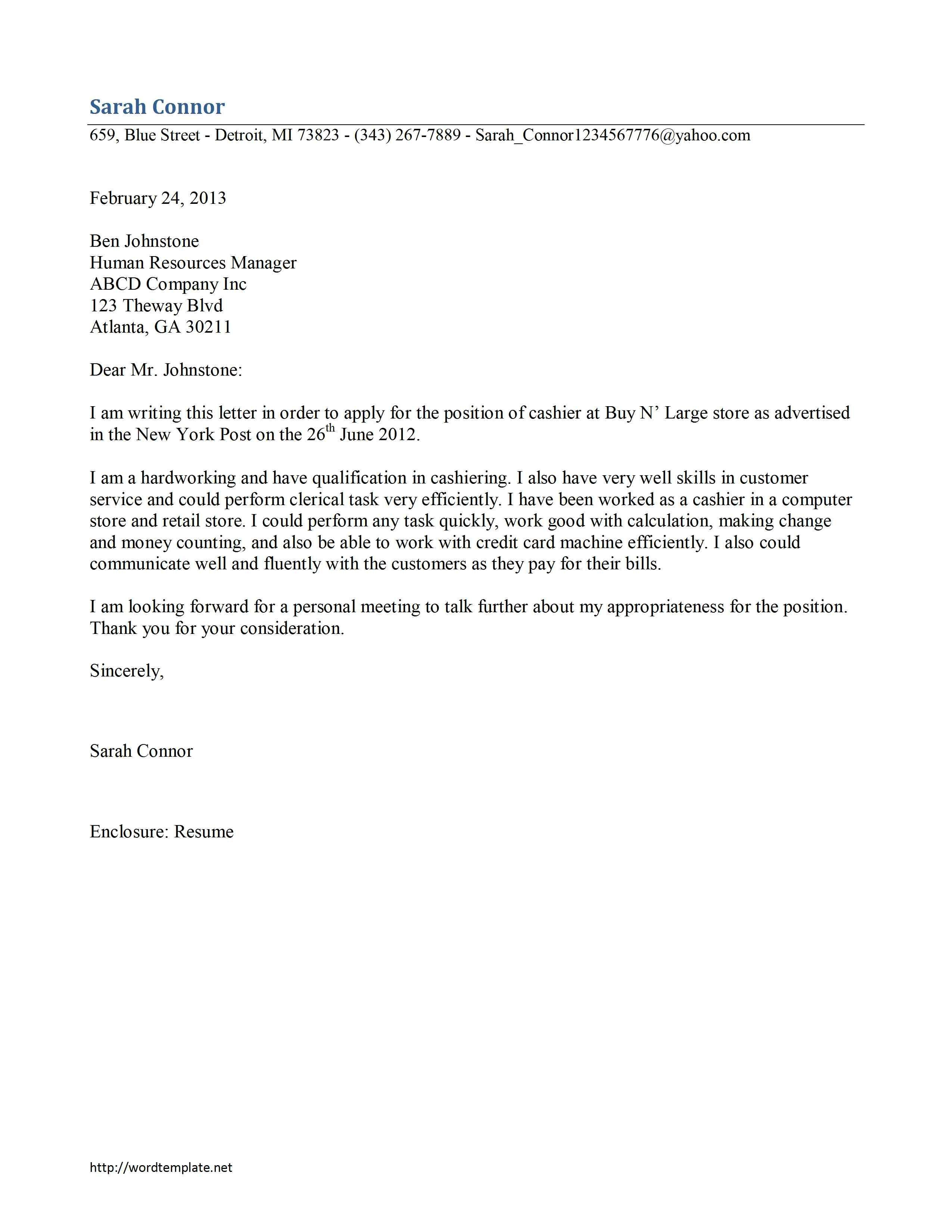 23 Cover Letter Template Free