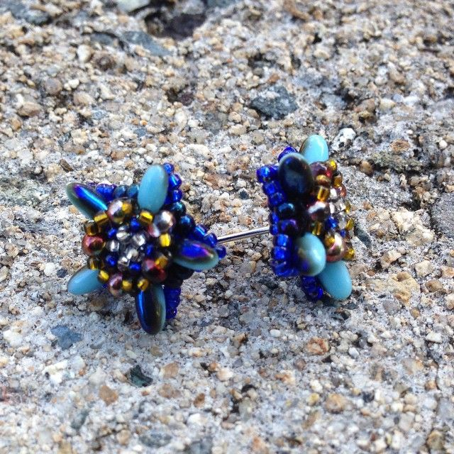 Beaded post earrings inspired by Bead Origamy using rizo and peanut beads.   j_valiente's photo on Instagram