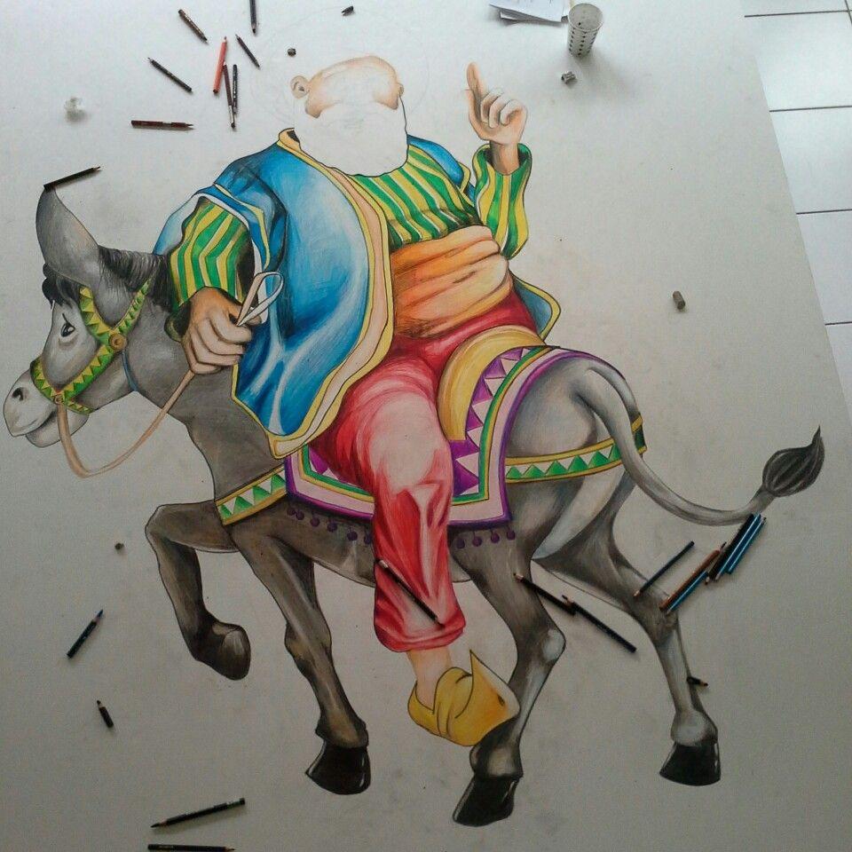 Dekota üzerine kuruboya ile Nasrettin Hoca Karikatür çalişmasi.