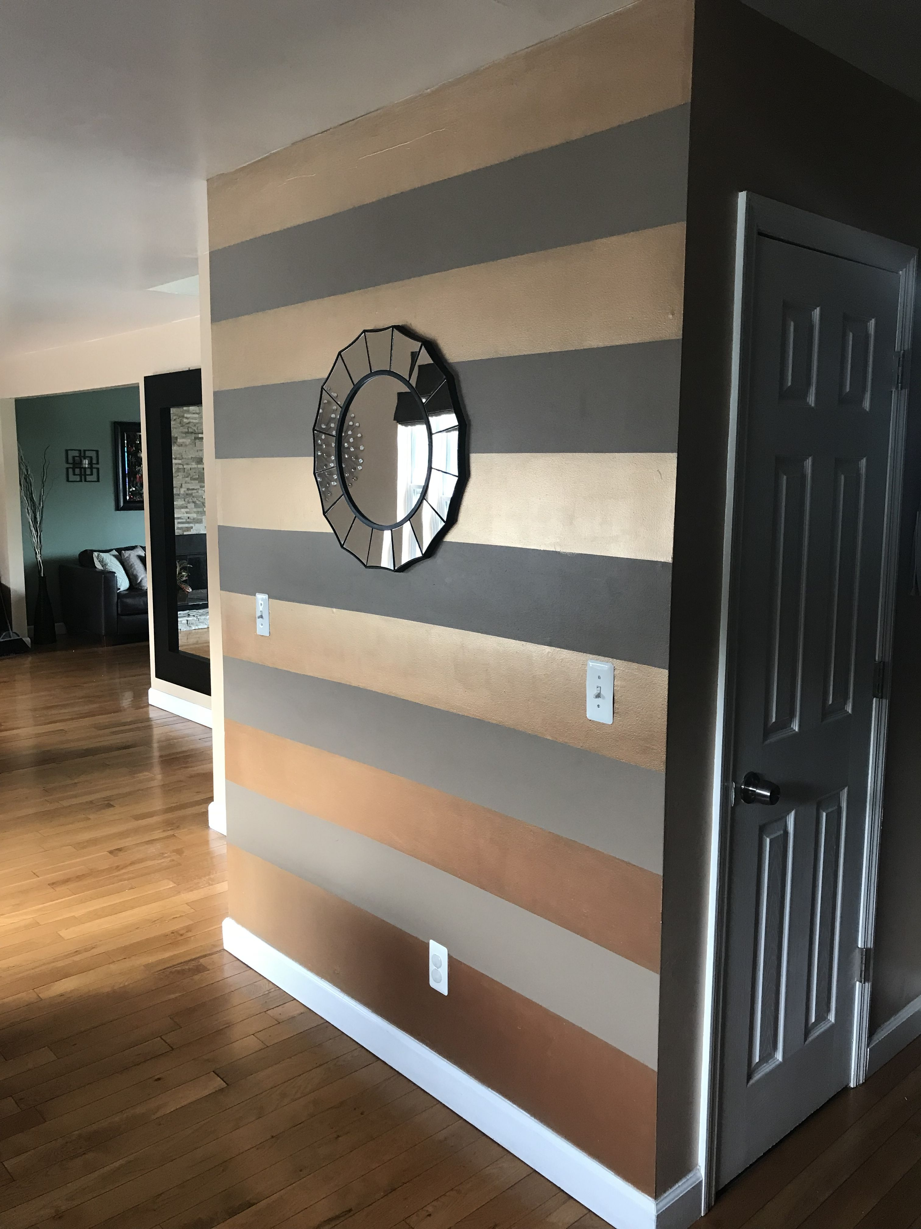 Metallic Copper Wall Stripes For Kitchen Accent Wall