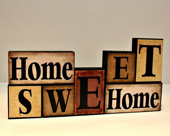 Home Sweet Wood Block Wooden Letter Blocks Real Estate Closing Gift Mantle Decorations Gifts For Shelf Sitter