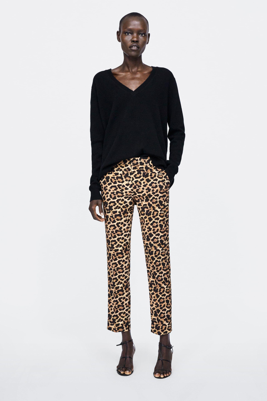 Zara Mulher Calcas Chino Com Estampa Animal Zara Hosen Damen Sommer