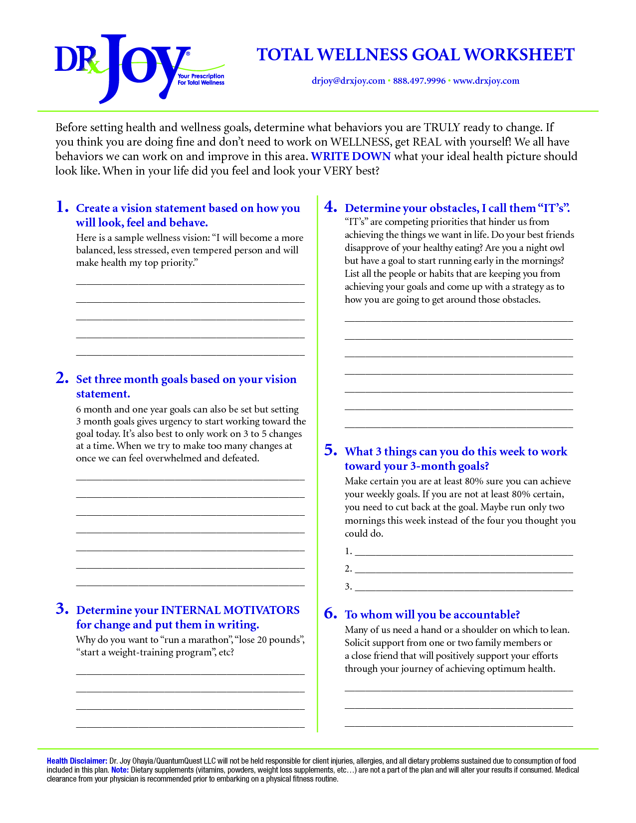 Free Total Wellness Goal Sheet