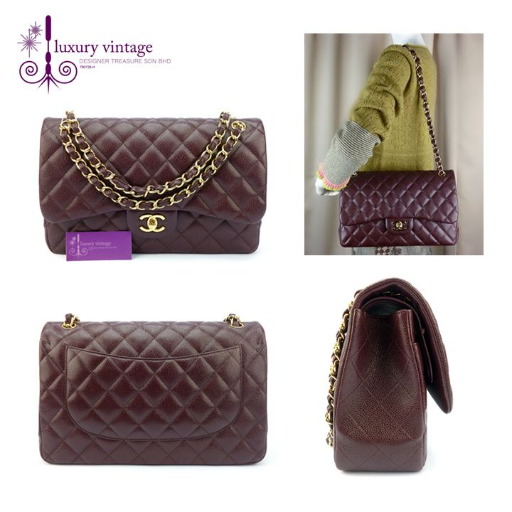 CHANEL Classic Jumbo Maroon Brown Caviar Double Flap With Gold Hardwware  Good Condition Ref.code-(KYOL-1) f97ea8f260