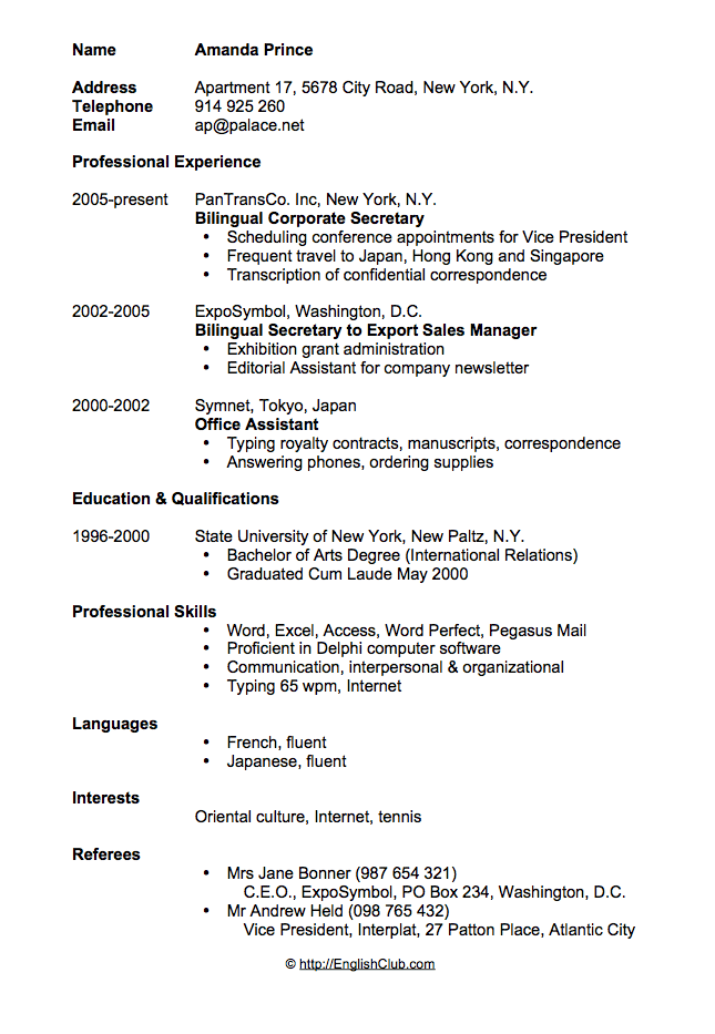 Sample Resume Cv For Secretary Sample Resume Format Cv Resume Sample Resume Template Free