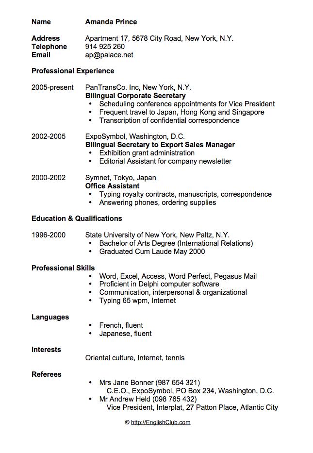 Sample Resume Cv For Secretary