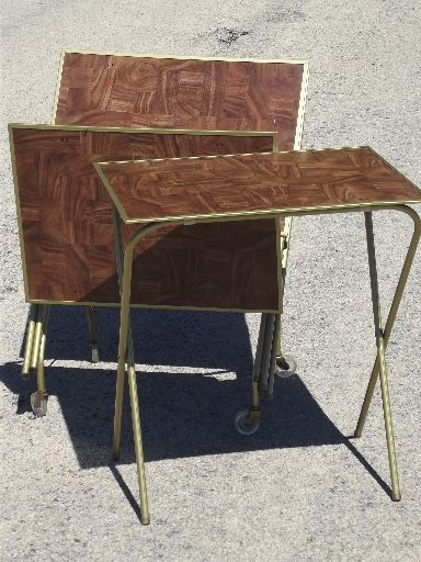 Set Of Four Vintage TV Tables With Wood Grain Print Hardboard Table Tops,  Brass Colored