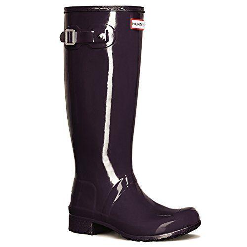 Womens Hunter Original Tour Gloss Galoshes Snow Wellingtons Rain Boots - Purple  Urchin - 8