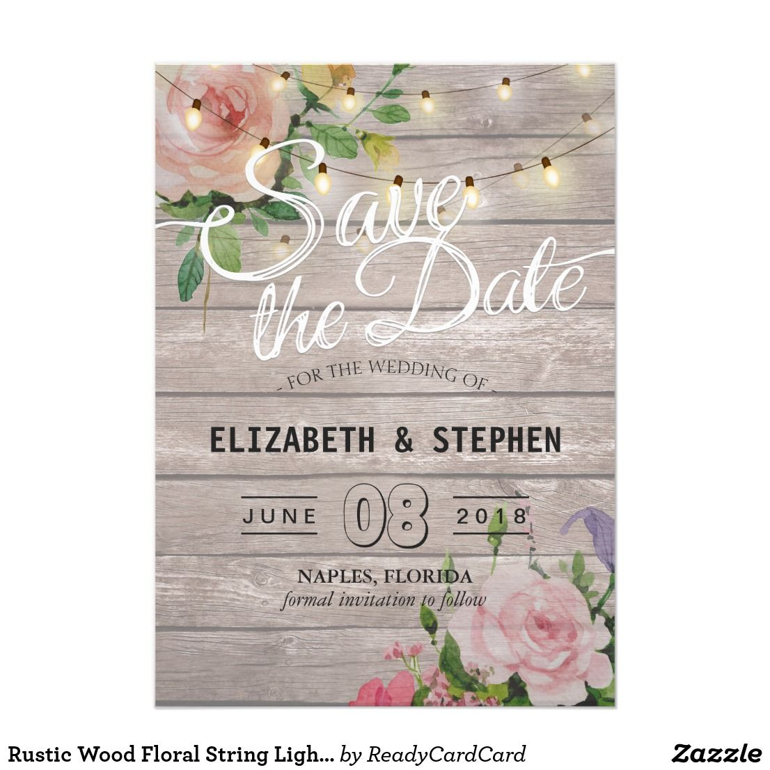 rustic wood floral string lights wedding save date card wedding save the date card templates vintage watercolor floral and elegant string lights on rustic