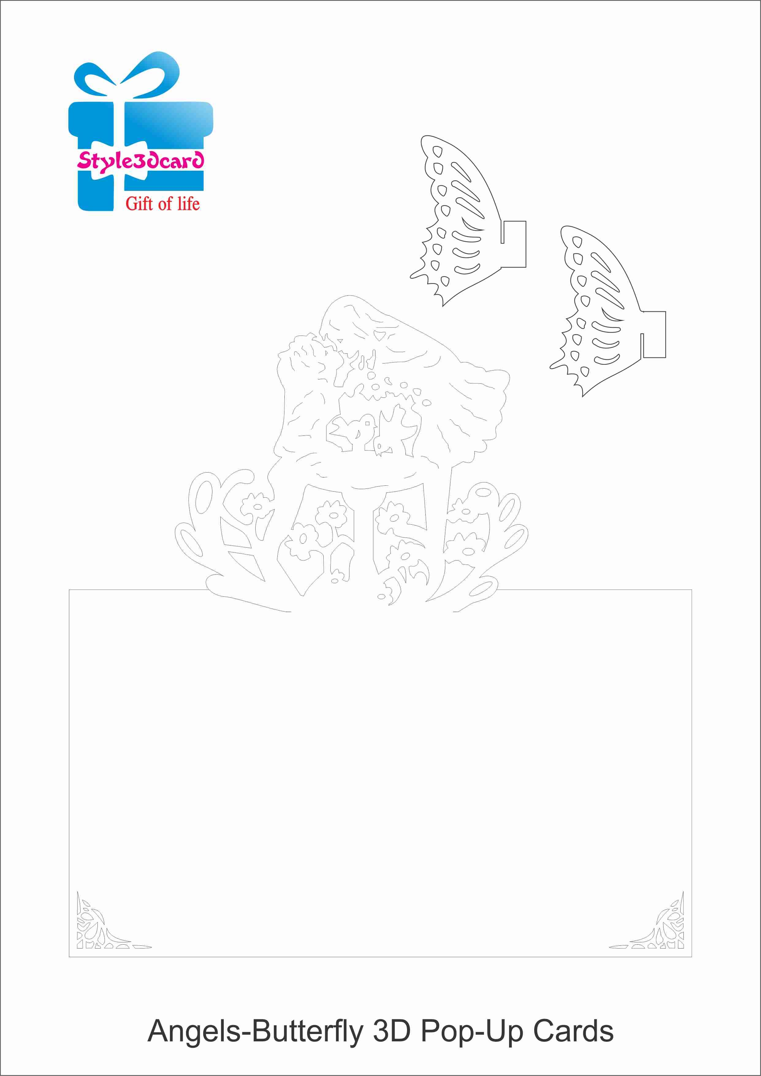 Angels-Butterfly 3D Pop UP Card/ kirigami pattern 1 | Pop ... - photo#14
