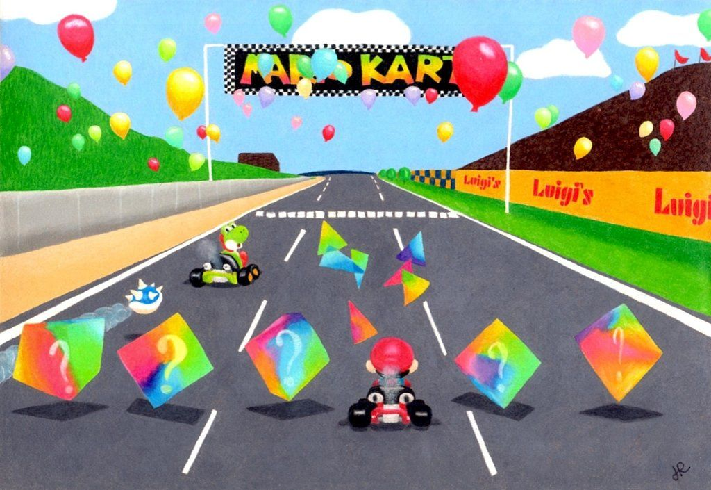 Luigi Raceway From Mario Kart 64 Drawn With Prismacolor And