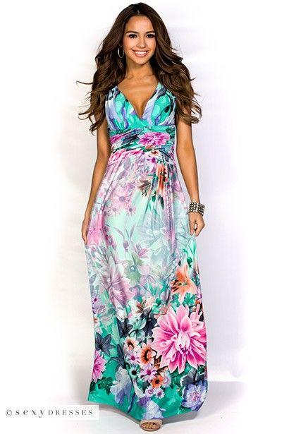 """Misty"" Emerald Green and Pink Tropical Print Beach Dress"
